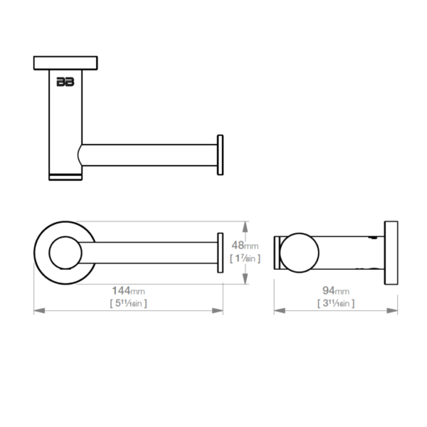 ACC BAT 4601POL SS Paper Holder Polished_Stiles_TechDrawing_Image