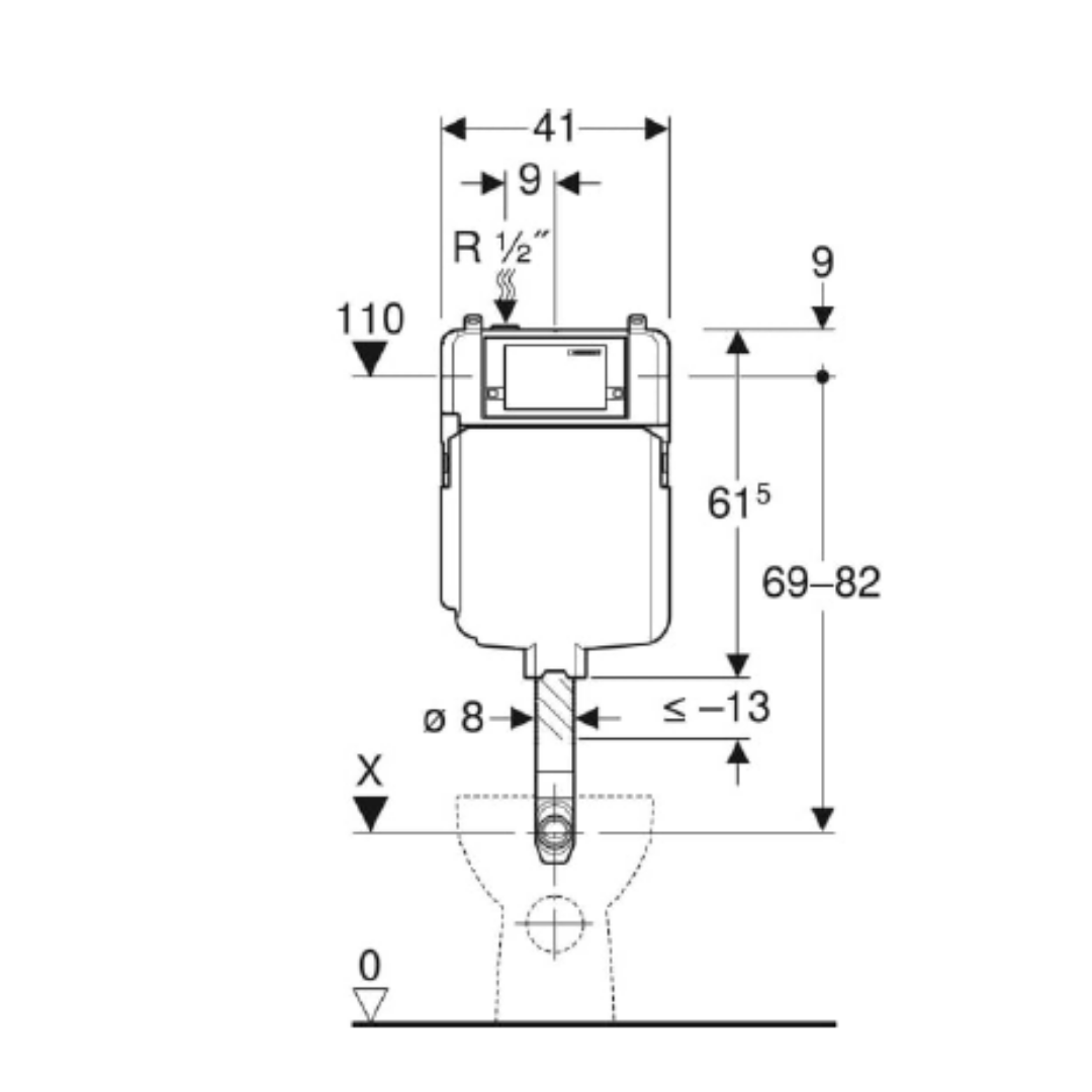 109.175.00.1 Alpha Floor Mounted Concealed Cistern 80mm_Stiles_TechDrawing_Image