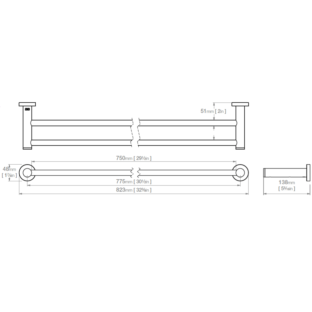 4685 BB SS Polished Double Towel Bar 800mm_Stiles_TechDrawing_Image