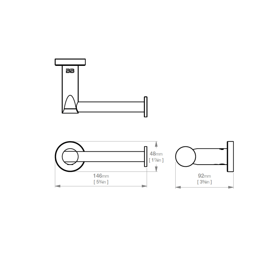 8201 BB SS Polished Paper Holder_Stiles_TechDrawing_Image