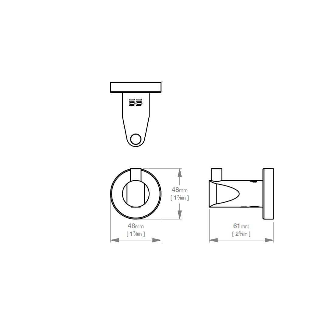 8210 BB SS Polished Single Robe Hook_Stiles_TechDrawing_Image