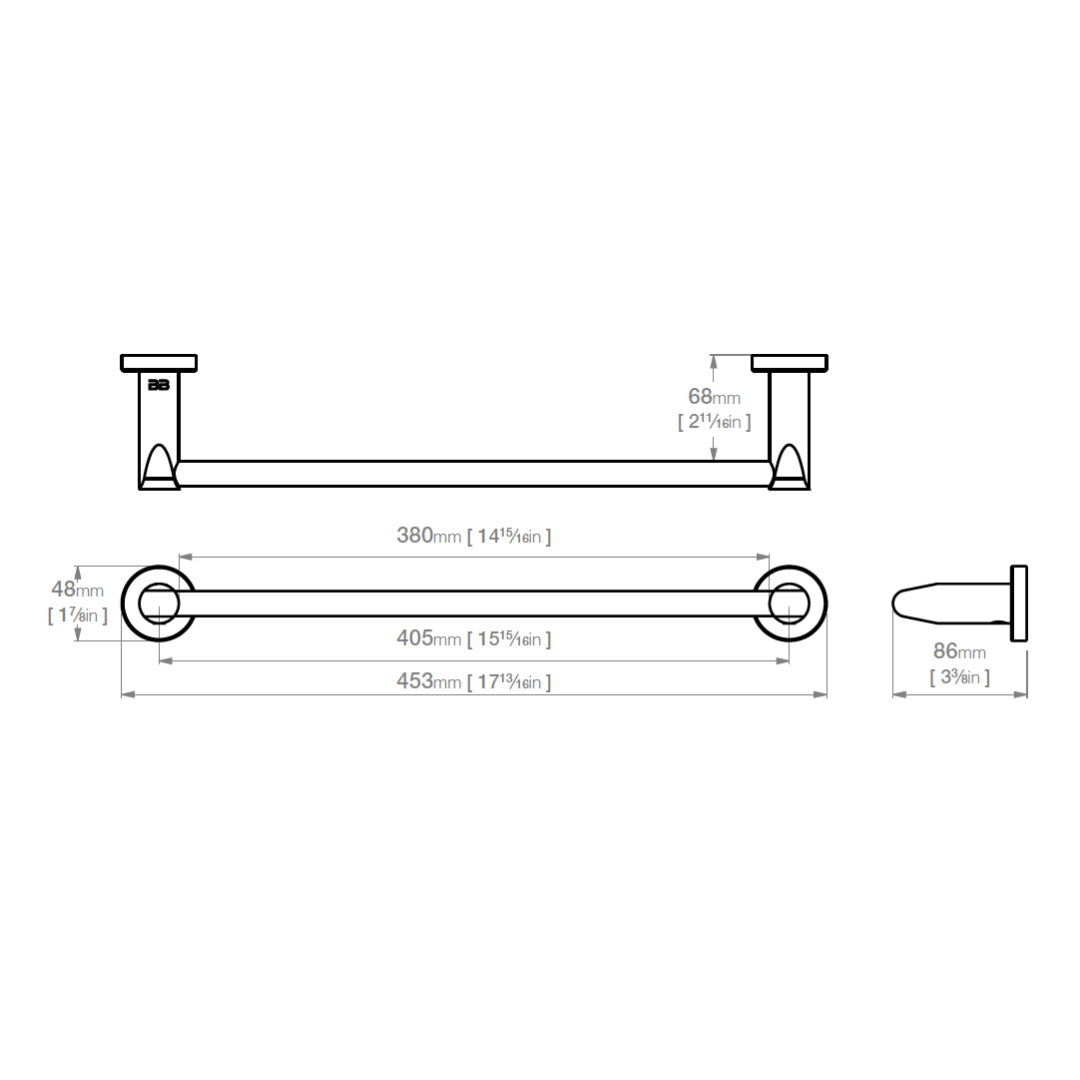 8270 BB SS Polished Single Towel Bar 430mm_Stiles_TechDrawing_Image