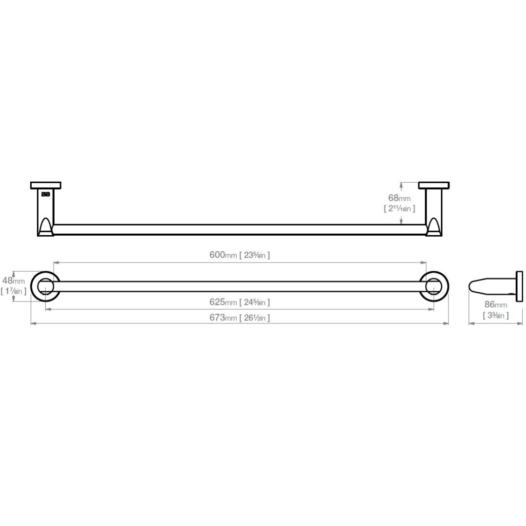 8272 BB SS Polished Single Towel Bar 650mm_Stiles_TechDrawing_Image