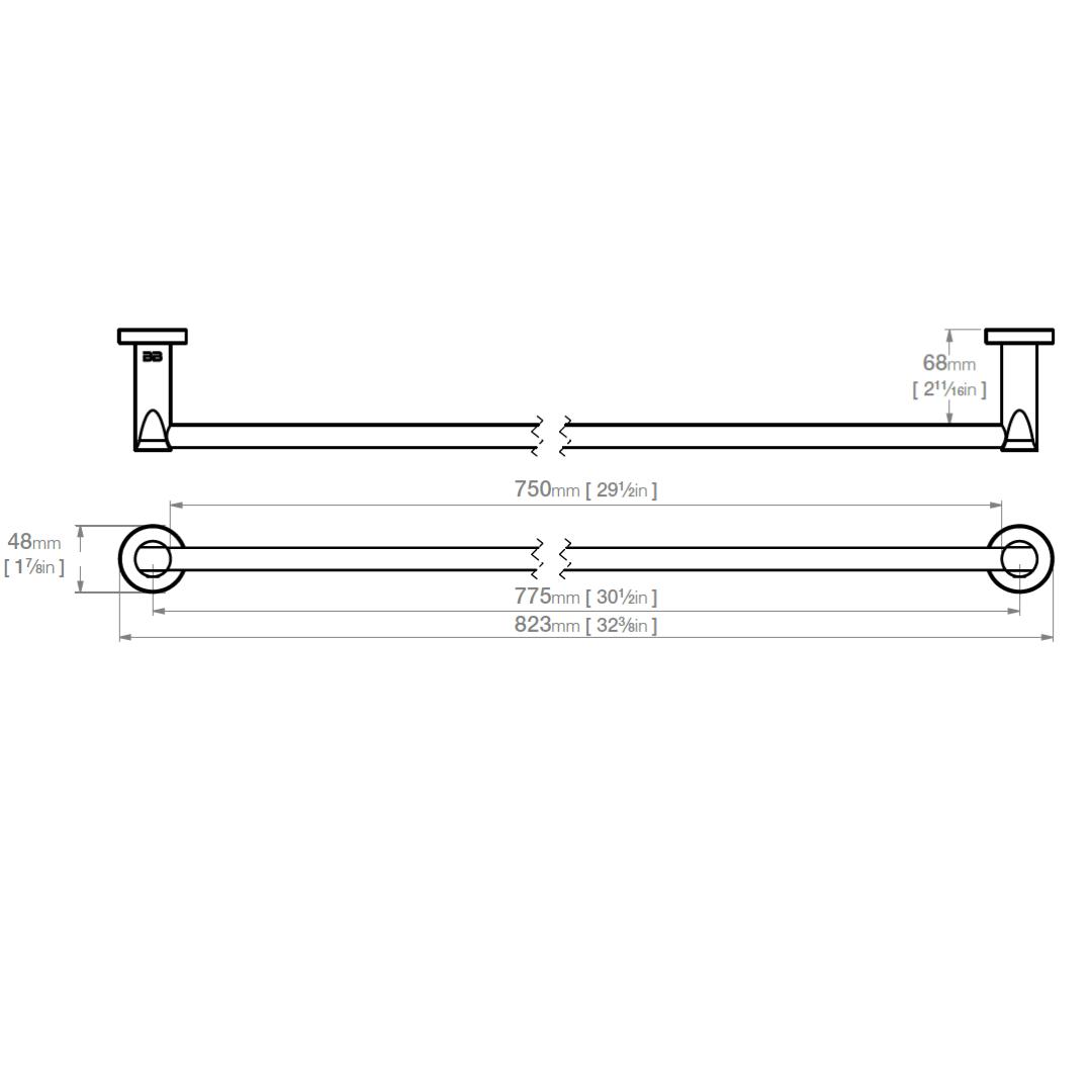 8275 BB SS Polished Single Towel Bar 800mm_Stiles_TechDrawing_Image