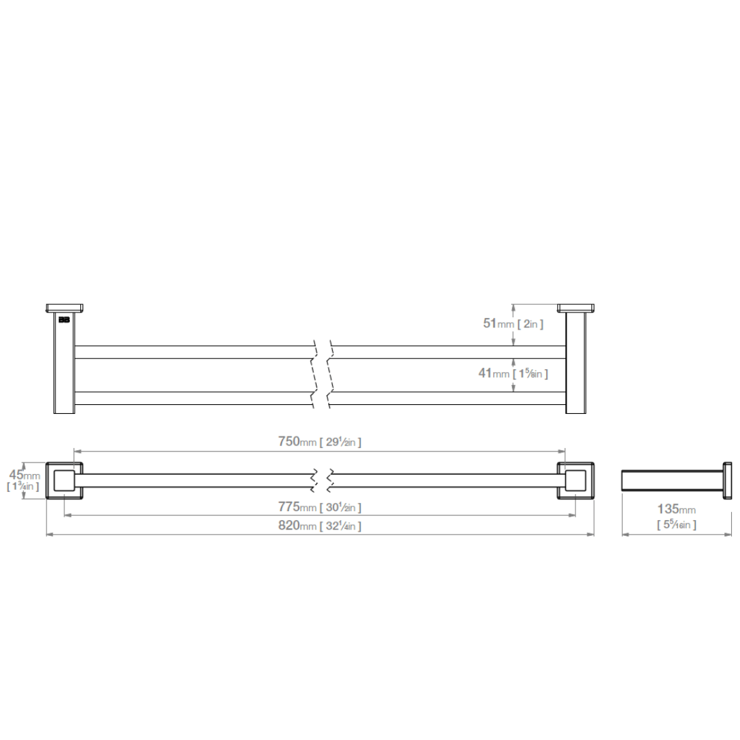 8585 BB SS Polished Double Towel Bar 800mm_Stiles_TechDrawing_Image
