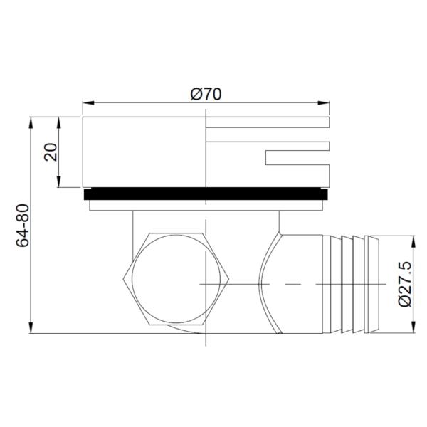 A100 Gio Bella Square Bath Spout_Stiles_TechDrawing_Image