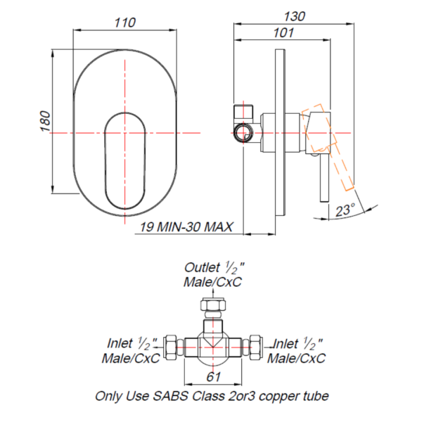 BA00000 BLUTIDE BAY Concealed SHOWER MIXER_Stiles_TechDrawing_Image