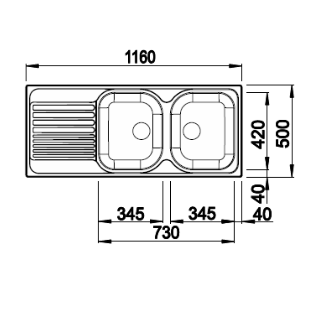 BL00204059 Blanco Tipo SS Sink_Stiles_TechDrawing_Image