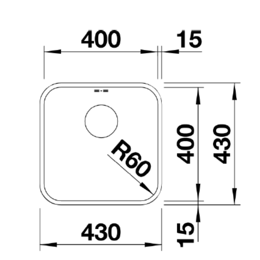 BL00518201 Blanco Supra U400 SS Sink_Stiles_TechDrawing_Image