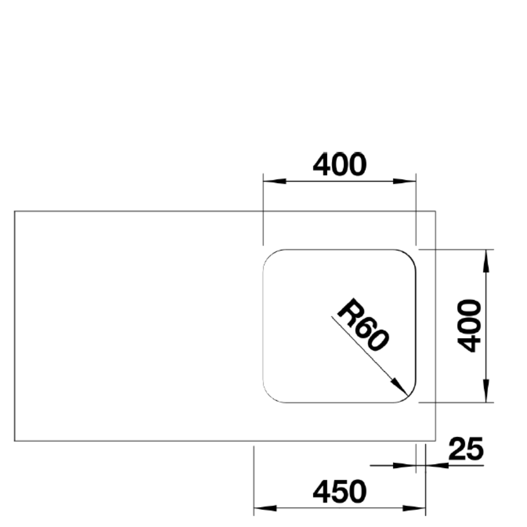 BL00518201 Blanco Supra U400 SS Sink_Stiles_TechDrawing_Image2