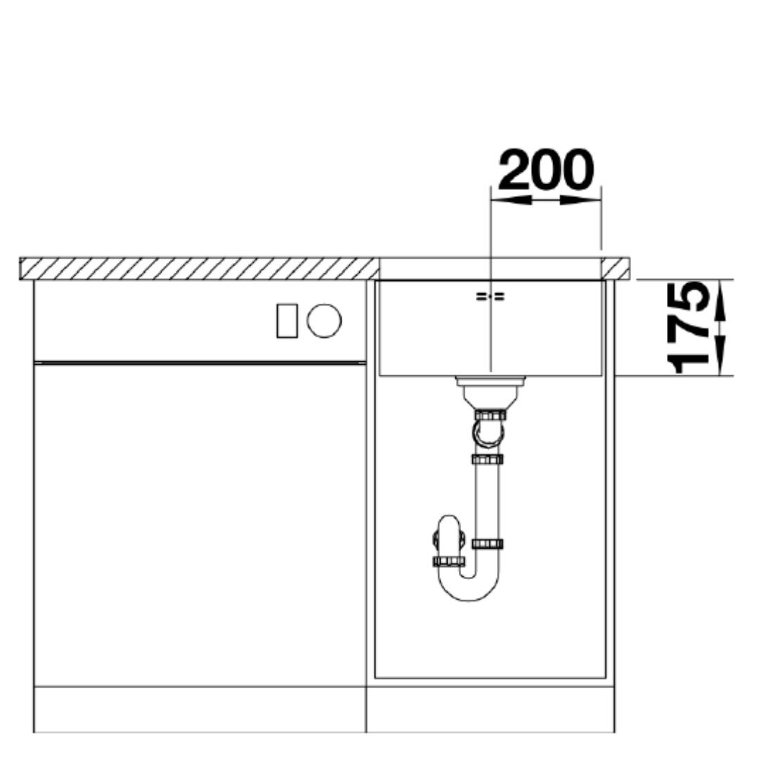 BL00518201 Blanco Supra U400 SS Sink_Stiles_TechDrawing_Image3
