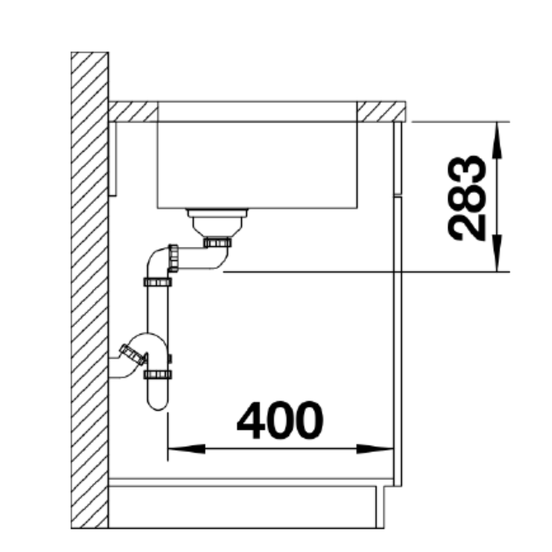 BL00518201 Blanco Supra U400 SS Sink_Stiles_TechDrawing_Image4
