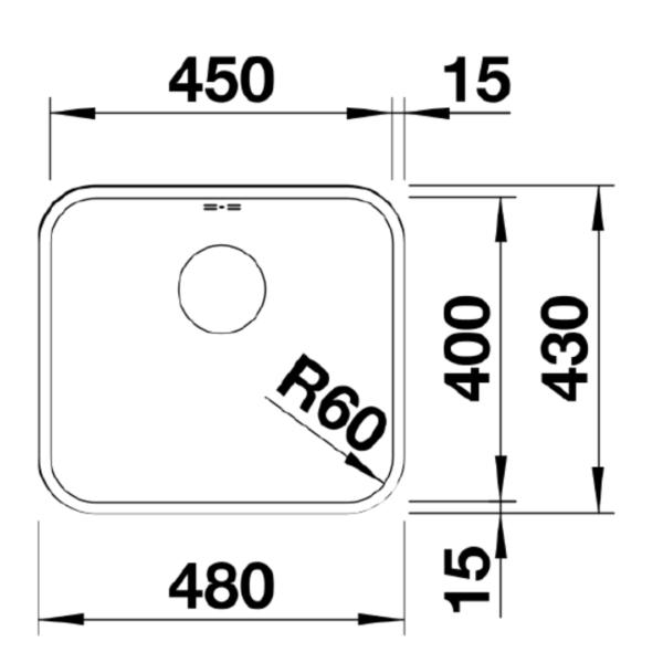 BL00518203 Blanco Supra U450 SS Sink_Stiles_TechDrawing_Image