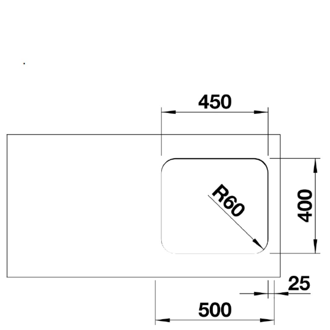 BL00518203 Blanco Supra U450 SS Sink_Stiles_TechDrawing_Image2