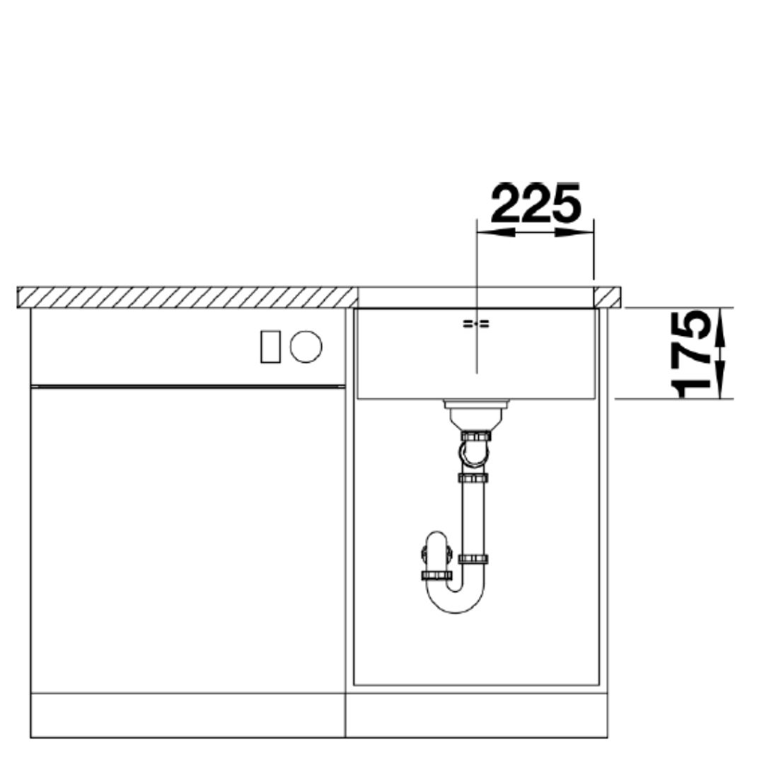 BL00518203 Blanco Supra U450 SS Sink_Stiles_TechDrawing_Image3
