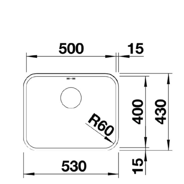 BL00518205 Blanco Supra U500 SS Sink_Stiles_TechDrawing_Image