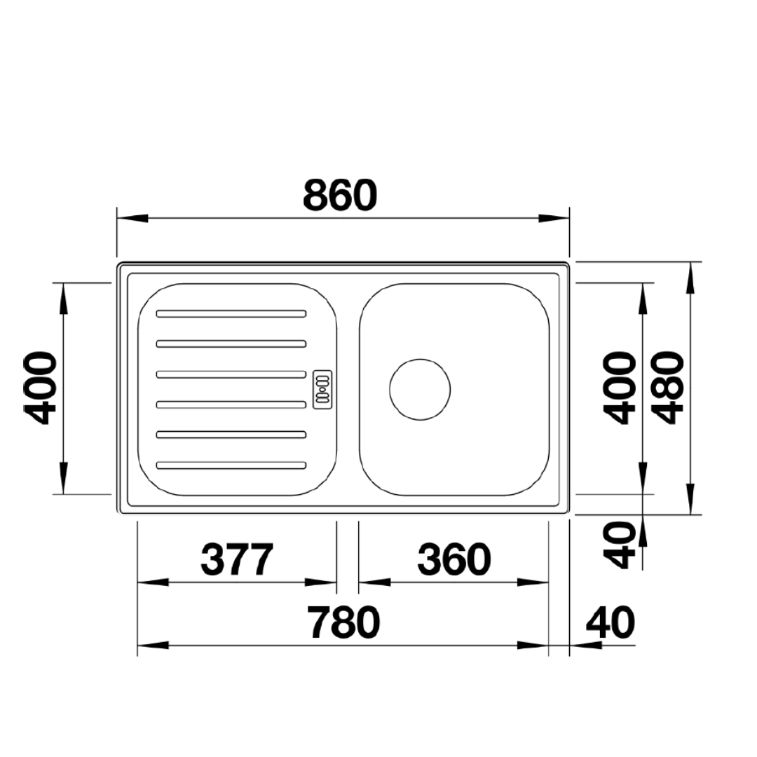 BL00521007 Blanco Flex Pro Sink_Stiles_TechDrawing_Image