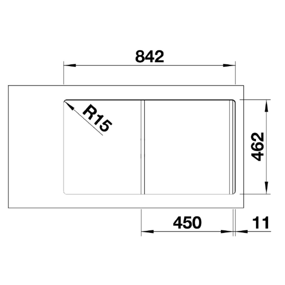 BL00521007 Blanco Flex Pro Sink_Stiles_TechDrawing_Image2