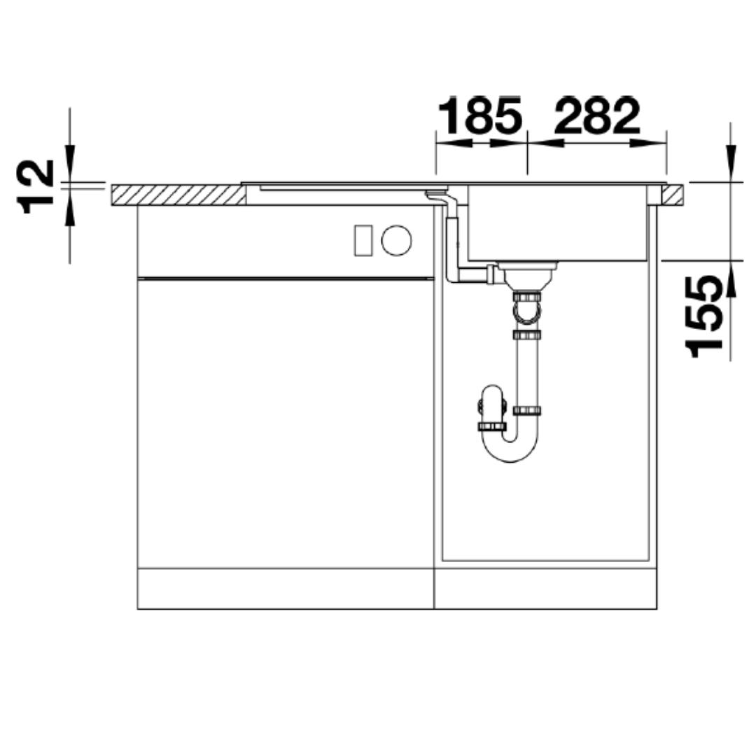BL00521007 Blanco Flex Pro Sink_Stiles_TechDrawing_Image3