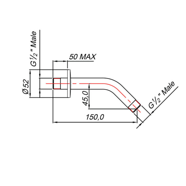 BLU TIDE _SA02400_STANDARD SHOWER ARM CHROME 15MM_Stiles_tech