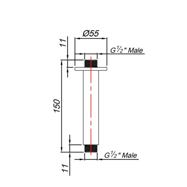 BLU TIDE _SA02441B_CEILING SHOWER ARM 150MM BLACK_Stiles_tech
