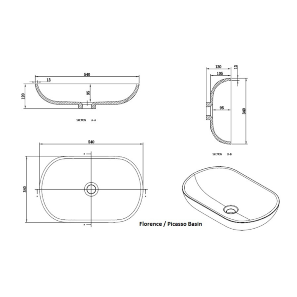 Clear Cube Florence Basin 540x340x120mm_Stiles_TechDrawing_Image