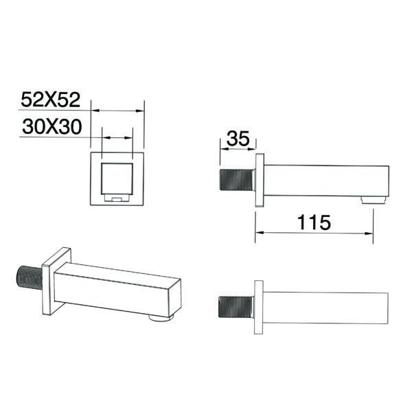 A108 Gio Bella Square Wall spout 130mm_Stiles_TechDrawing_Image2