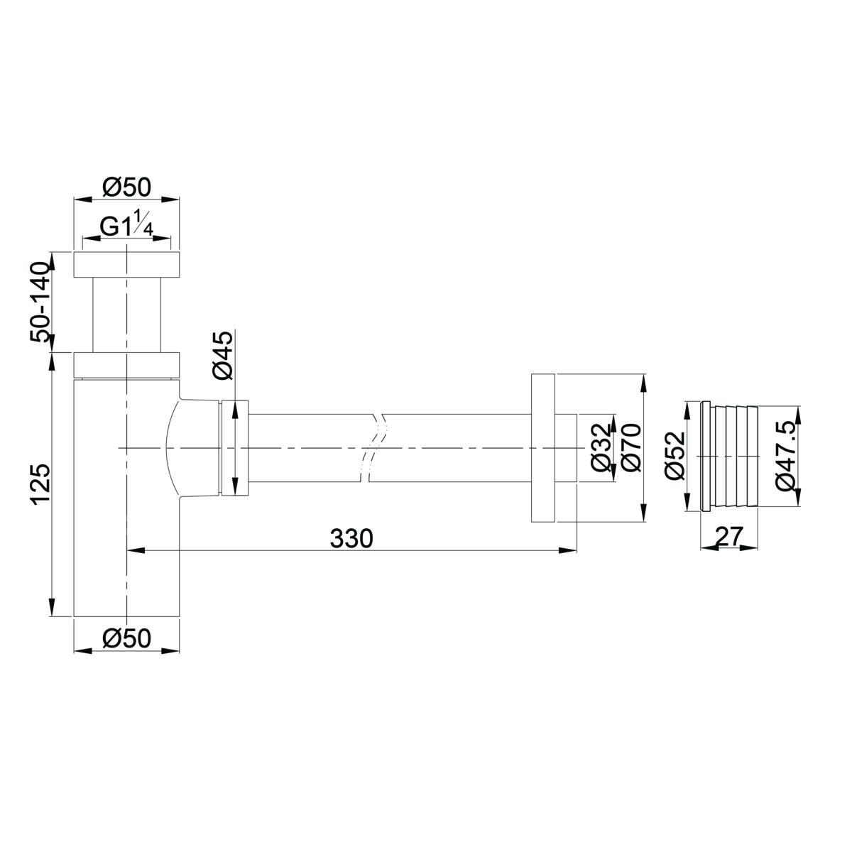 A186 Gio Bella Basin Bottle trap round_Stiles_TechDrawing_Image
