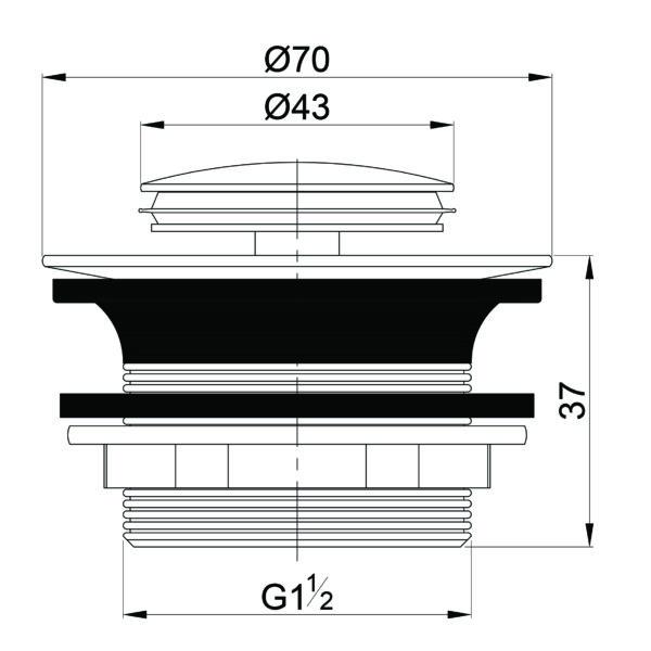 BTW201 Gio Bella clicker bath waste 40mm_Stiles_TechDrawing_Image
