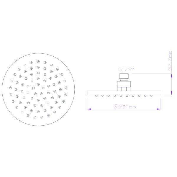 GV94-01 Gio Bella round shower rose 200mm_Stiles_TechDrawing_Image
