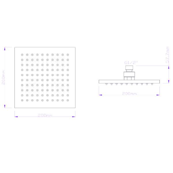 GV-94-02 Gio Bella square shower rose 200mm_Stiles_TechDrawing_Image