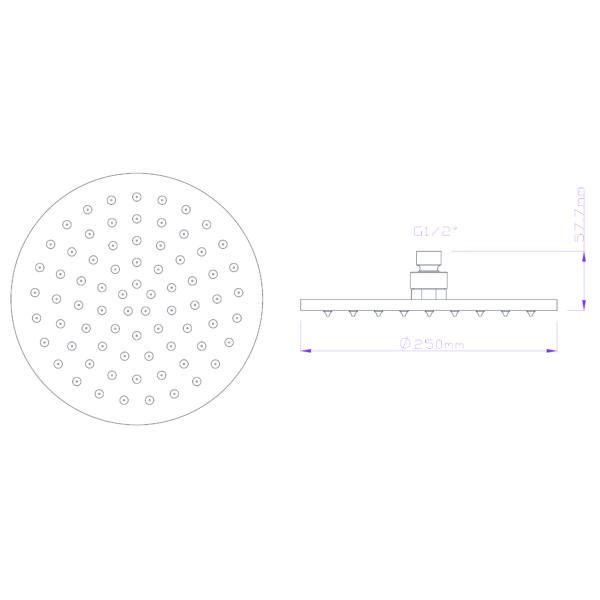 GV-94-03 Gio Bella round shower rose 250mm_Stiles_TechDrawing_Image