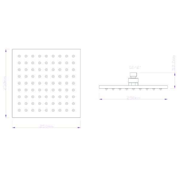 GIO-BELLA-_GV 94-04_SQUARE-BRASS-SHOWER-ROSE-250MM_Stiles_TechDrawing_Image