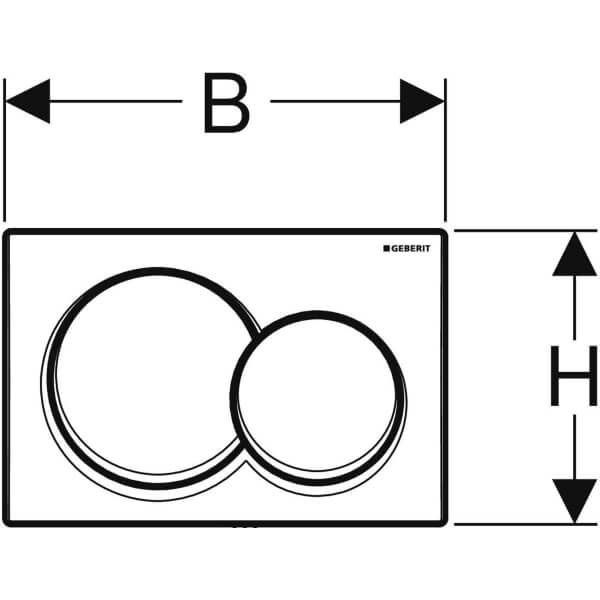 Geberit Alpha 01 White Actuator Plate_Stiles_Techdrawing_Image2