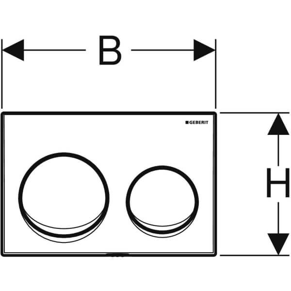 Geberit Alpha 10 White Actuator Plate_Stiles_TechDrawing_Image2