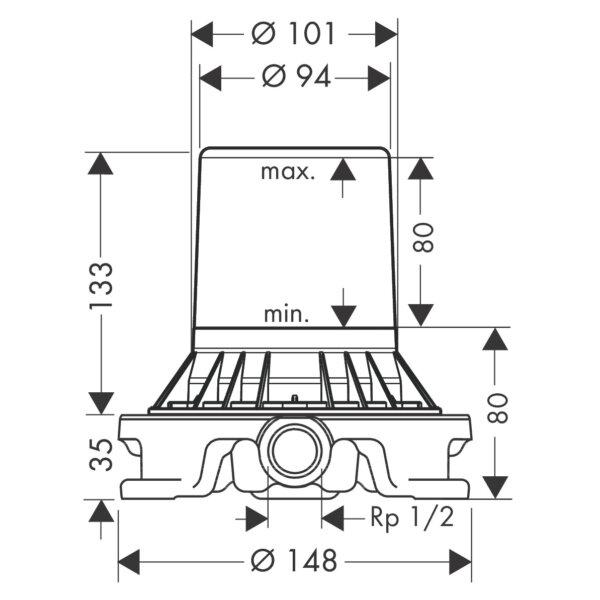 Hansgrohe_10452-180_BATH MIXER FS BASIC SET FLOOR_Stiles_TechDrawing_Image