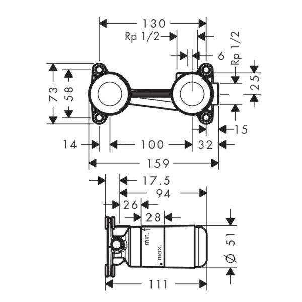 Hansgrohe_13622-018_BASIN MIXER BASIC SET WALL_Stiles_TechDrawing_Image