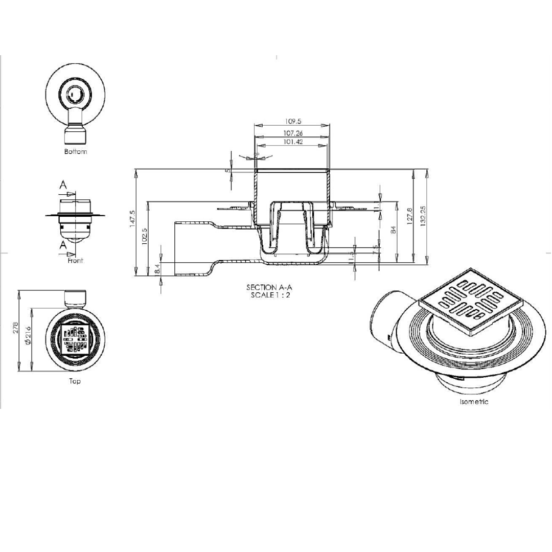 Hydrotec Sarah Lee Horizontal Shower Trap_Stiles_TechDrawing_Image