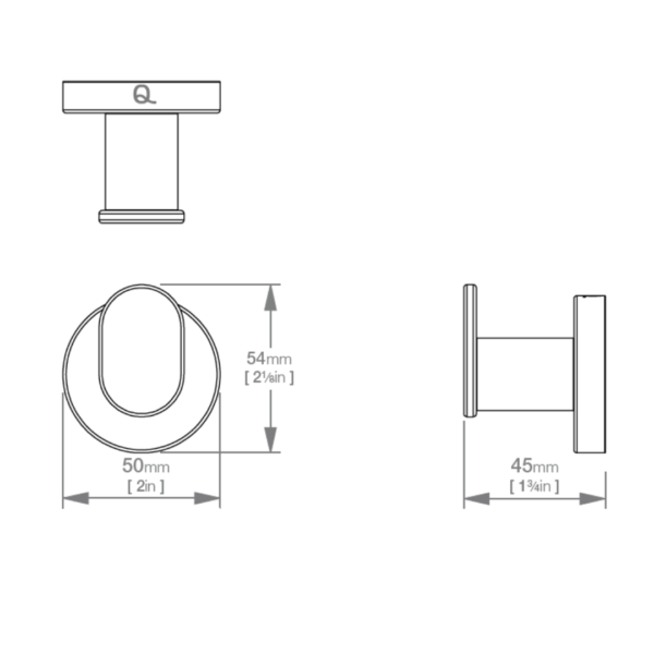 LR2310 LR Lavish Single Robe Hook_Stiles_TechDrawing_Image