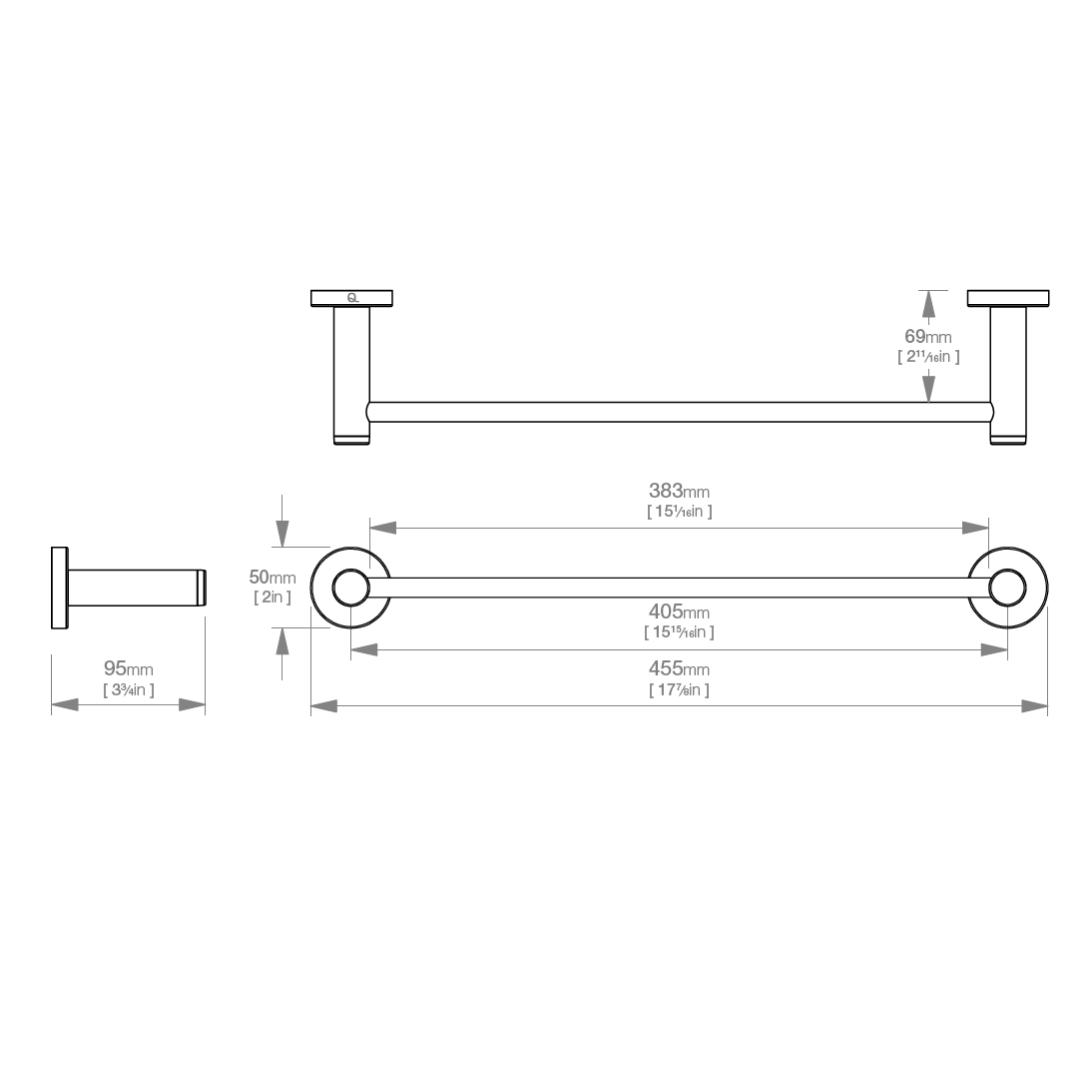 LR2370 LR Lavish Single Towel Rail 430mm_Stiles_TechDrawing_Image