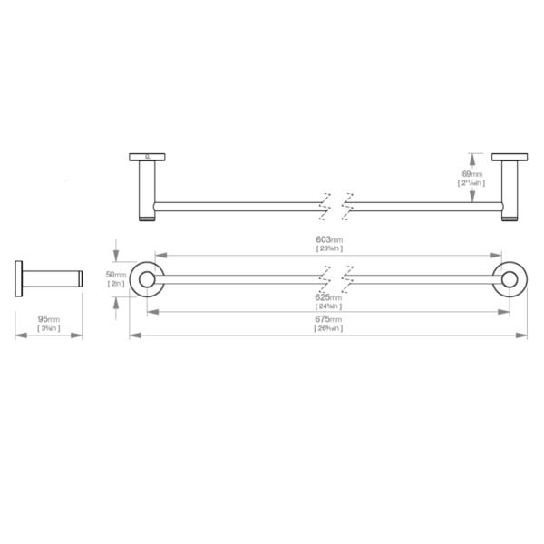 LR2372 LR Lavish Single Towel Rail 650mm_Stiles_TechDrawing_Image