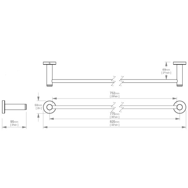 LR2375 LR Lavish Single Towel Rail 800mm_Stiles_TechDrawing_Image