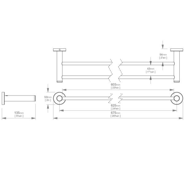 LR2382 LR Lavish Double Towel Rail 650mm_Stiles_TechDrawing_Image