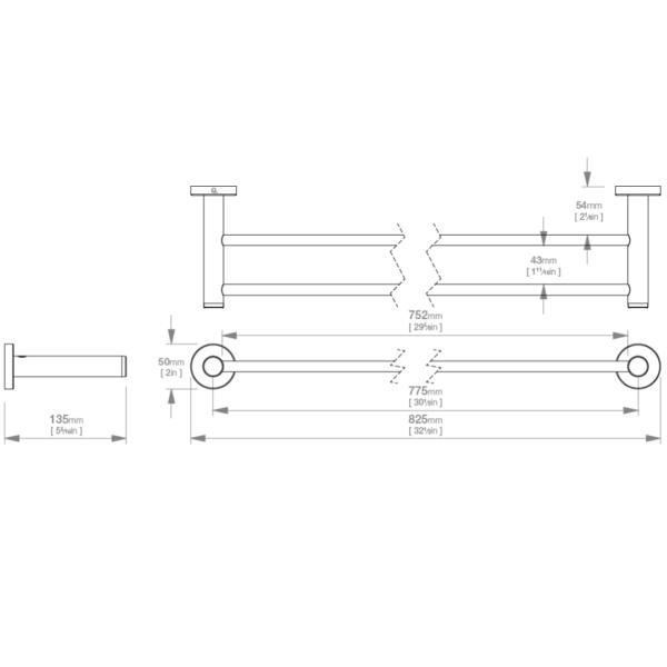 LR2385 LR Lavish Double Towel Rail 800mm_Stiles_TechDrawing_Image