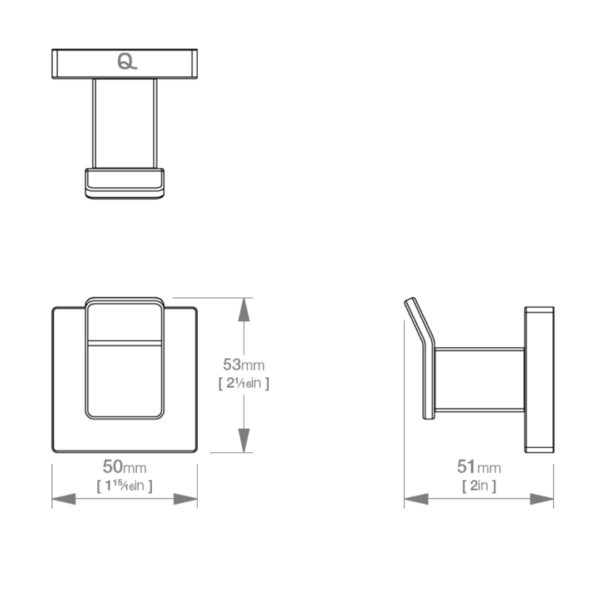 LR2410 LR Elemental Single Robe Hook_Stiles_TechDrawing_Image