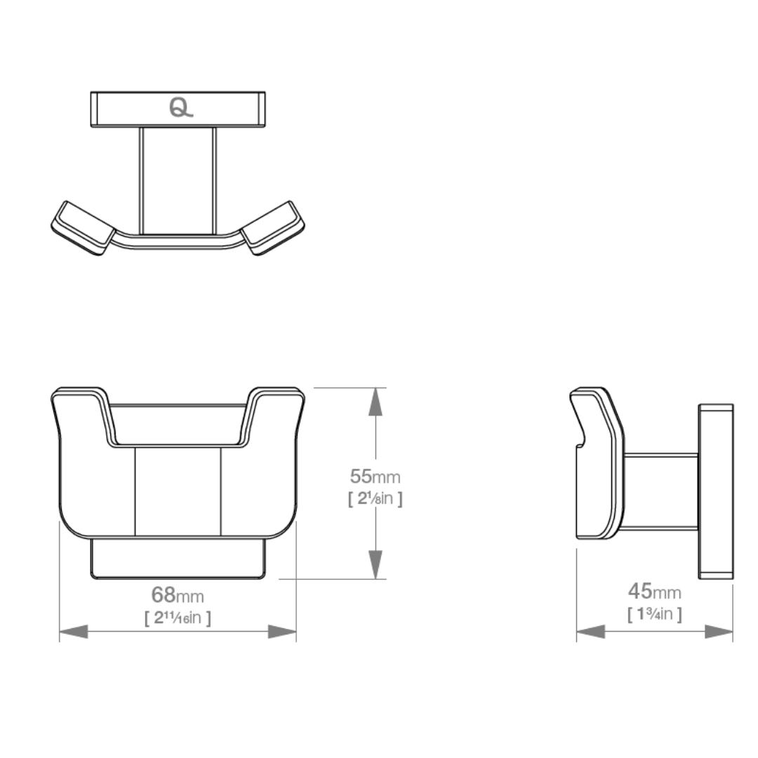 LR2411 LR Elemental Double Robe Hook_Stiles_TechDrawing_Image