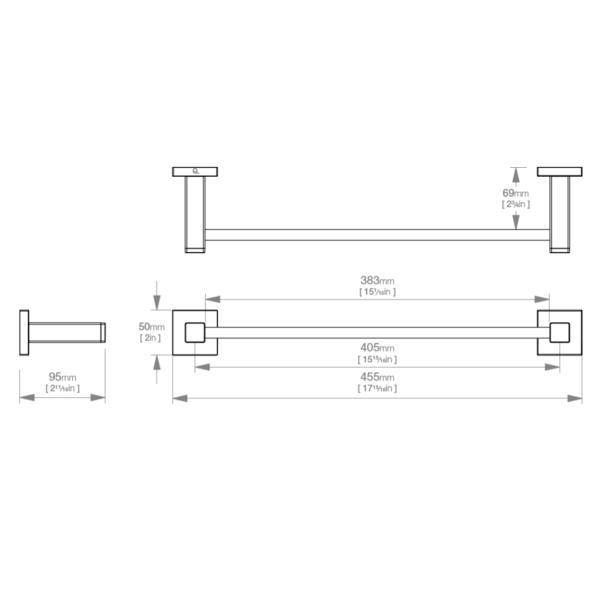LR2470 LR Elemental Single Towel Rail 430mm_Stiles_TechDrawing_Image