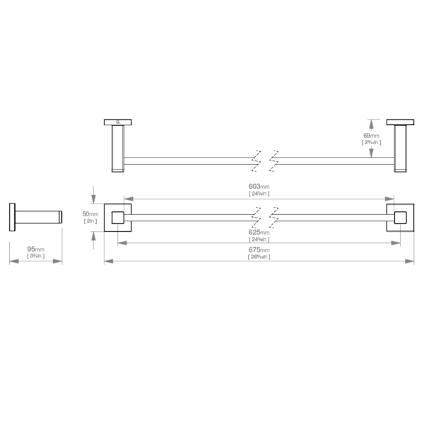 LR2472 LR Elemtnal Single Towel Rail 650mm_Stiles_TechDrawing_Image