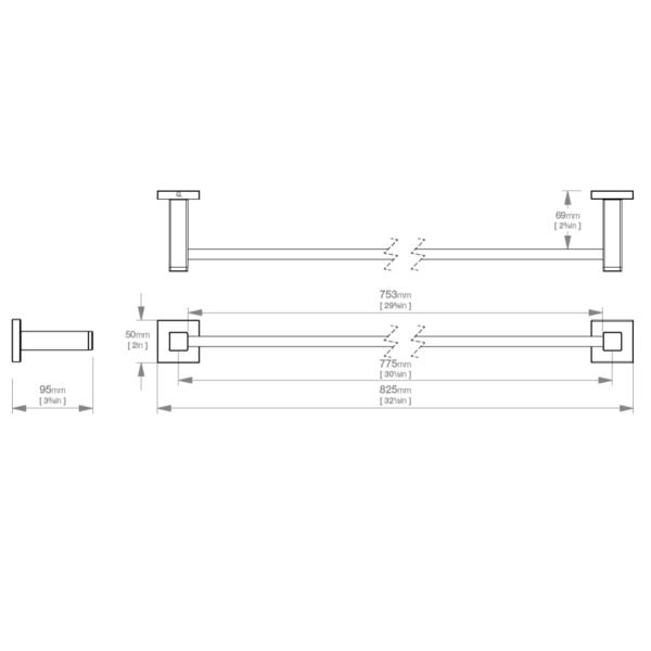 LR2475 LR Elemental Single Towel Rail 800mm_Stiles_TechDrawing_Image