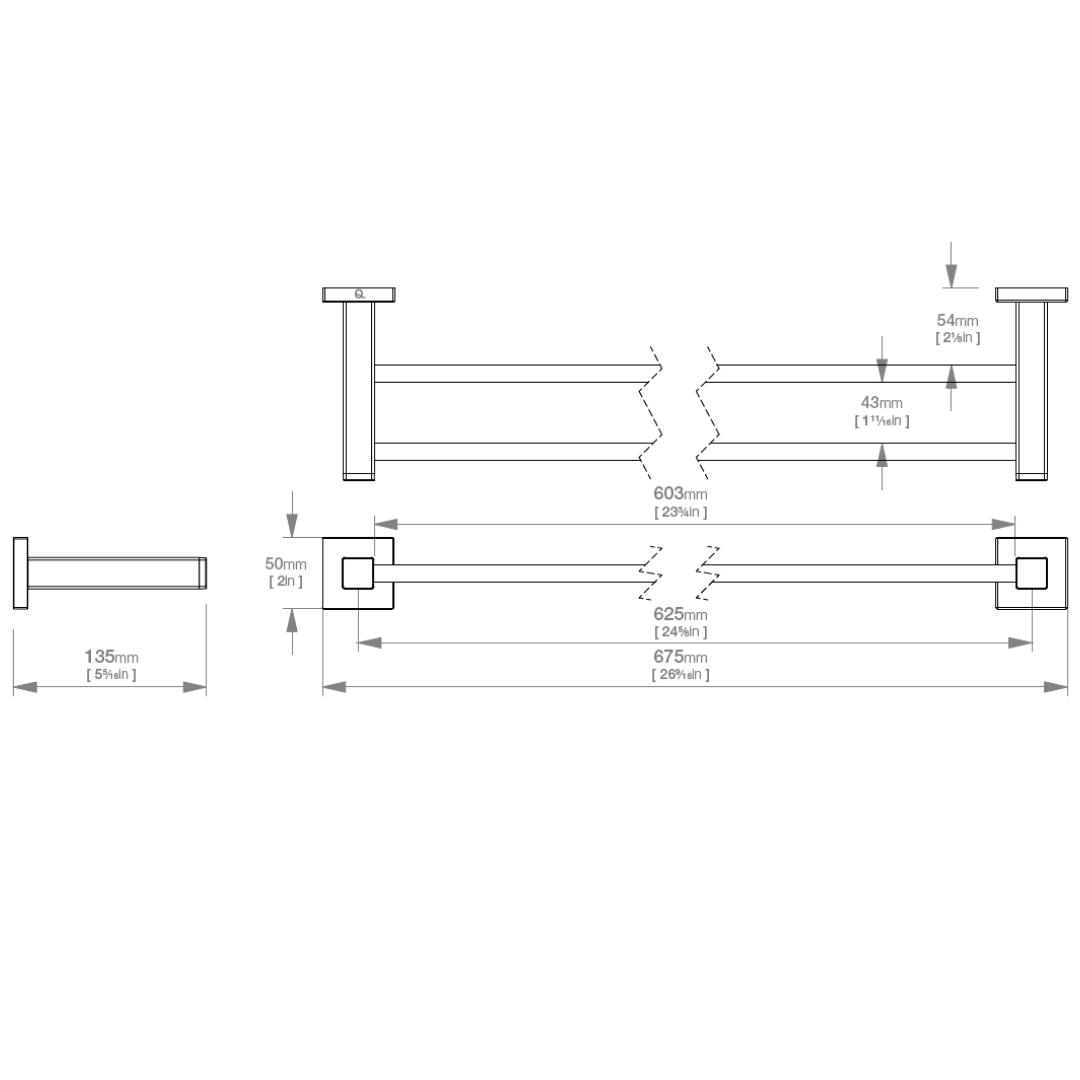 LR2482 LR Elemental Double Towel Rail 650mm_Stiles_TechDrawing_Image